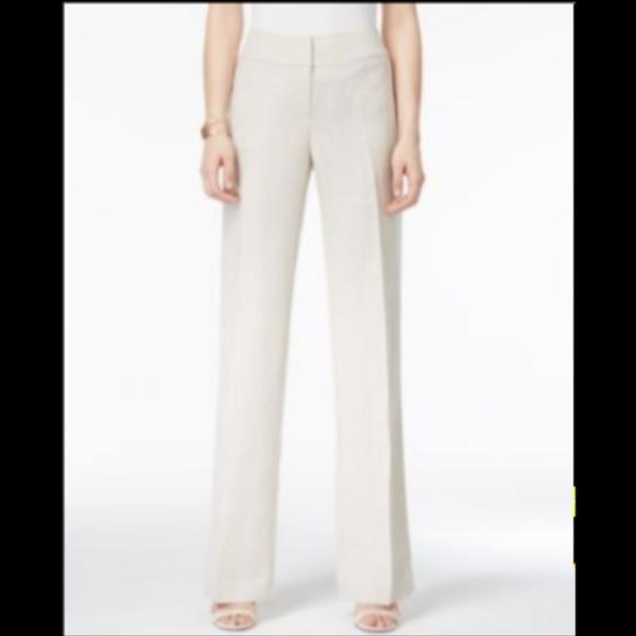 f979a51db9 Alfani Wide Leg Trousers Bright White Linen Blend